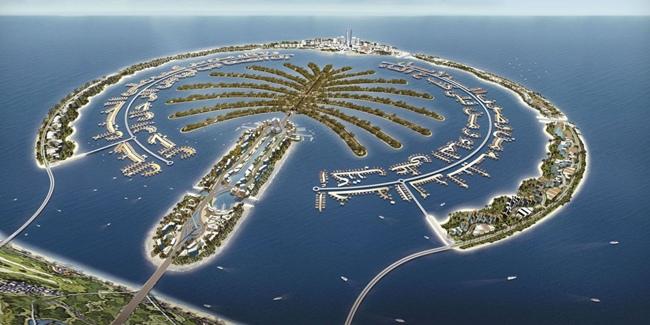 نمایی از پیشرفت دبی در جزیرهٔ جبل علی (Palm Jebel Ali)